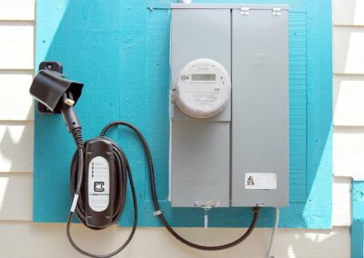 EV charging station with new electrical panel Electric Street Auburn CA